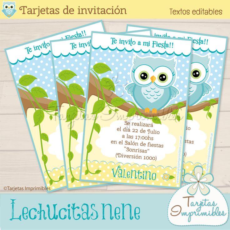 Invitaciones Lechucitas o Búhos nene