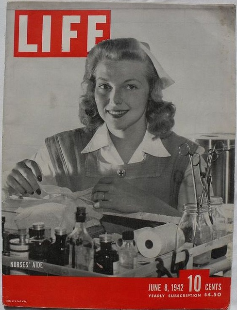 "Life, June 8, 1942. ""After Pearl Harbor, the American Red Cross asked for 100,000 nurses' aides. Among the first to answer the call was Miss Lorraine Ames, a 22-year-old San Francisco girl who had previously attended Bennett School in Millbrook, N.Y. and the Sacred Heart Convent in Menlo Park, Calif., but had never done more than 'two days of work' in her life."" ~"