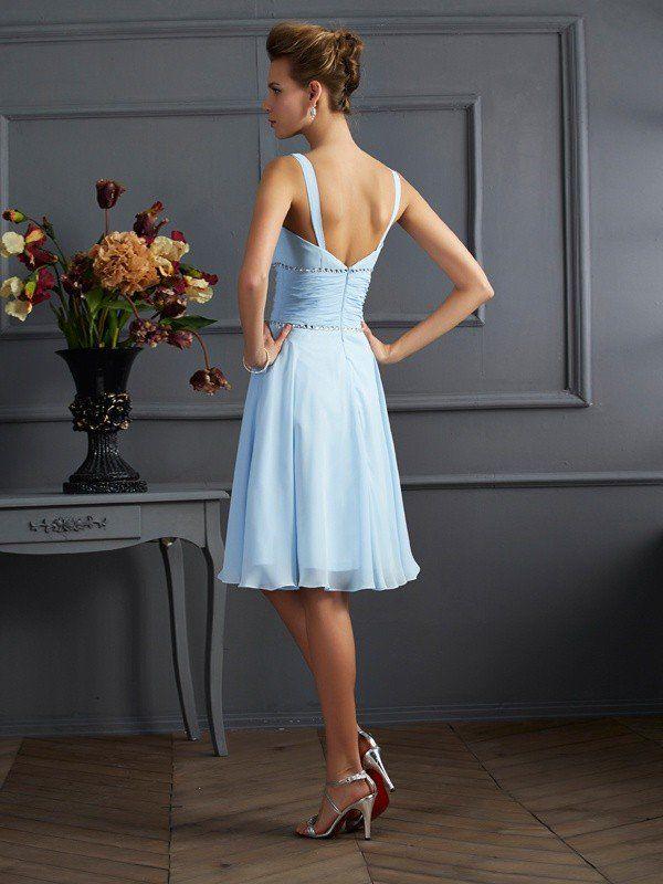 808c9da3751 A-Line Princess V-neck Sleeveless Pleats Short Chiffon Bridesmaid Dresses
