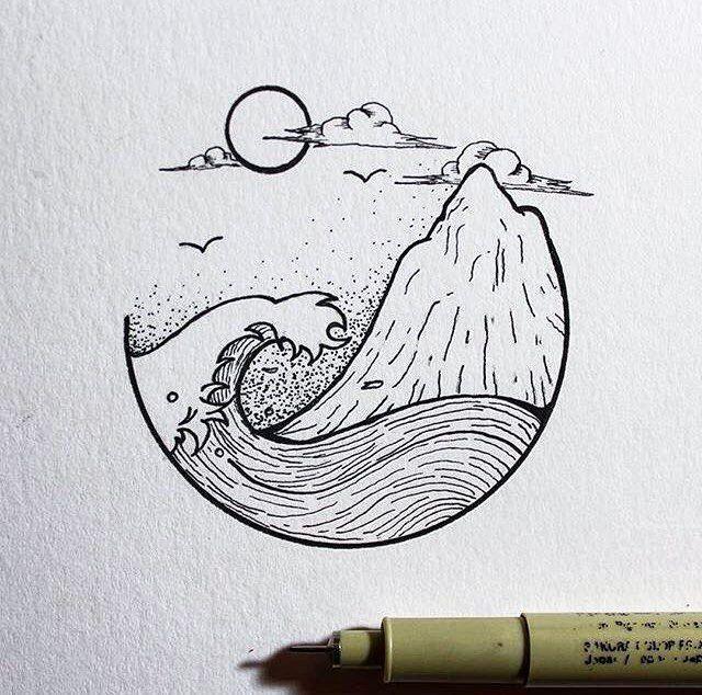 Wellen- und Küstenklippenentwurf. Reminde – #Cliff #Design #Reminde #seaside #tekenen