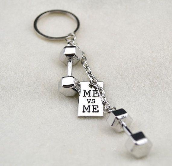 Barbell Dumbbell ME Vs ME Keychain Keyring 3D By