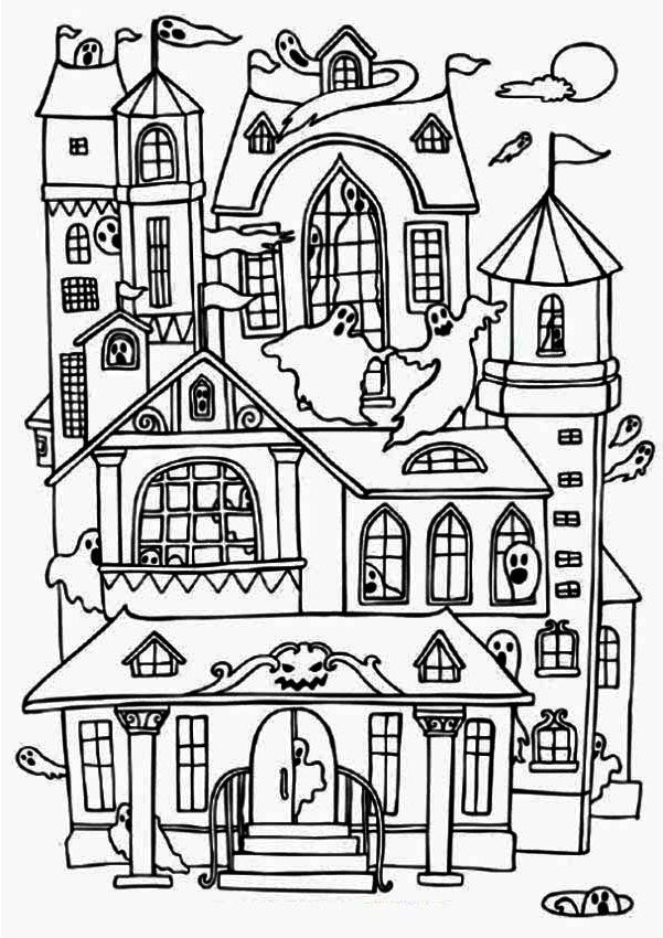 Haunted House Coloring House Colouring Pages Halloween Coloring Halloween Coloring Pages