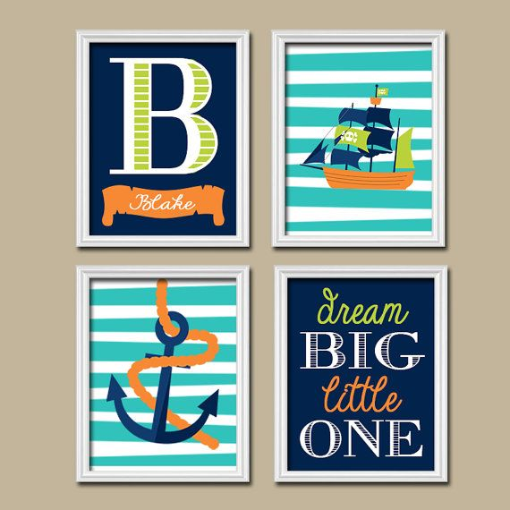 PIRATE Wall Art Boy Nautical Canvas Navy Green Orange by TRMdesign