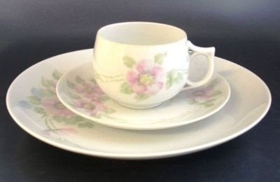 Hand Painted China 3 PC Dessert Set Pink Blue Flowers | eBay