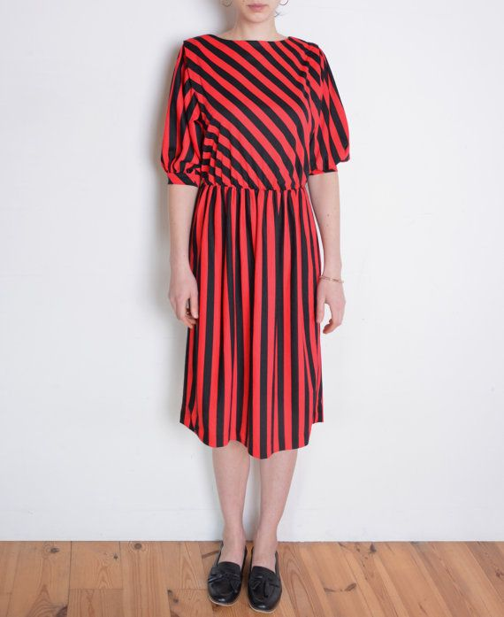 80's striped dress red and black stripes dress by WoodhouseStudios