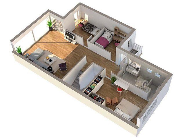 30 best 3D Floor Plan images on Pinterest Free floor plans - 3d house plans