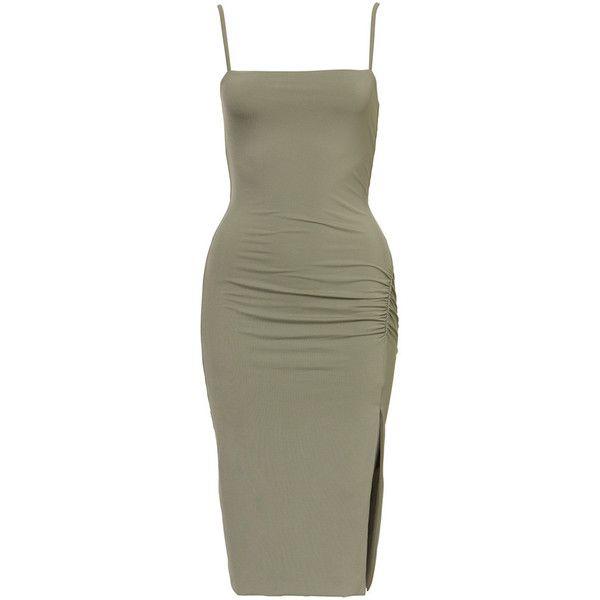 Sia Dress (145 BRL) ❤ liked on Polyvore featuring dresses, green midi dress, figure hugging dress, form fitted dresses, midi dress and mid calf dresses