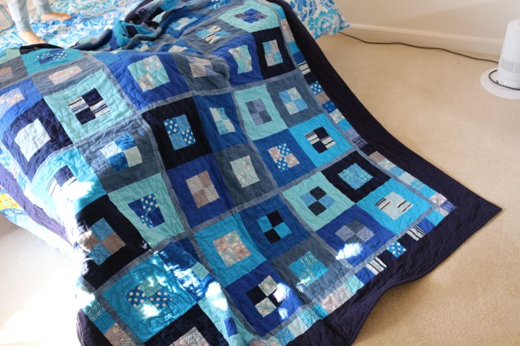Flannel Quilt in Blues.