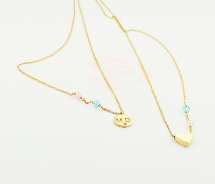 Escapulário em prata 925 banhada a ouro de 18 kl com quartzos rosa e azuis   #personalizar #nomes #letras #escapulario #roseblossom