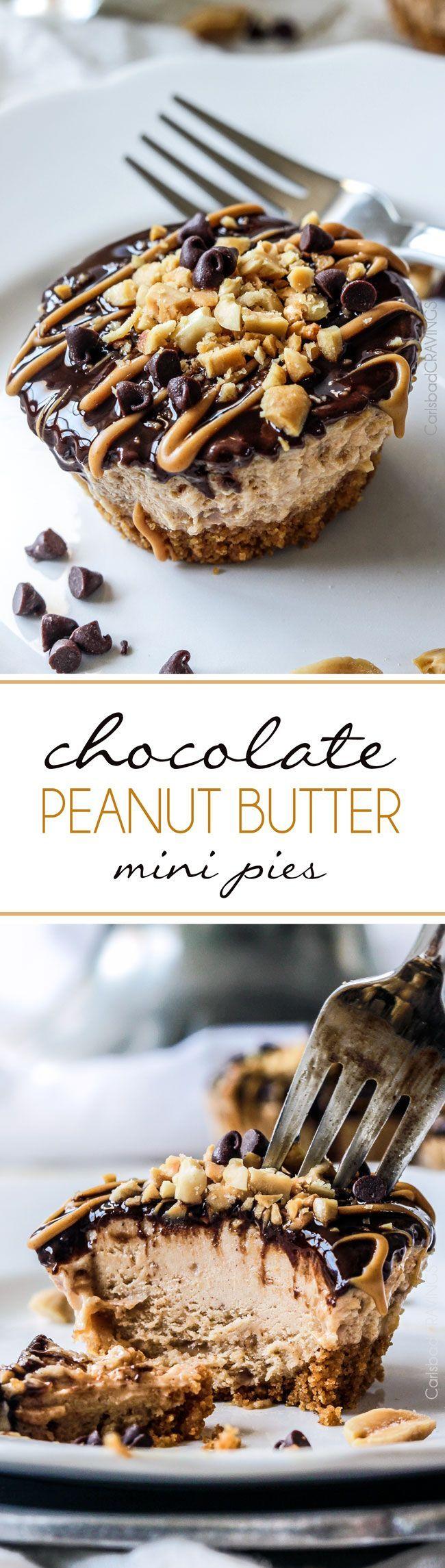 Mini Chocolate Peanut Butter Pies  http://www.carlsbadcravings.com/almost-no-bake-mini-chocolate-peanut-butter-pies-recipe/