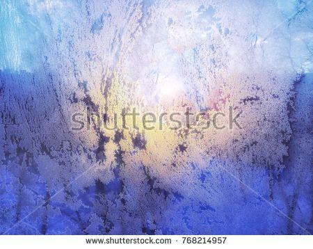Beautiful frosty pattern on the window