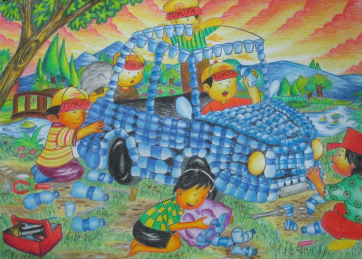 'Recycling Plastic Bottle Car' by Regita Aryani, Aged 11, Indonesia: 4th Contest, Bronze #KidsArt #ToyotaDreamCar