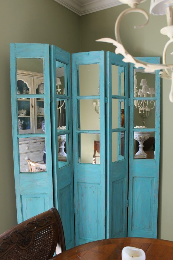 Blue wooden diy room divider screen in a shabby chic
