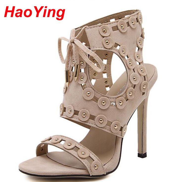 Aliexpress.com: Comprar Tachonado tacones altos sandalias de verano para mujeres del gladiador sandalias atractivas de los altos talones mujeres de bombas zapatos desnudo con cordones de las sandalias D528 de sandalias de tacón pequeño fiable proveedores en HaoYing shoe's Factory