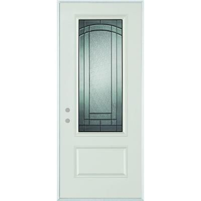 Stanley Doors 37.375 In. X 82.375 In. Chatham 3/4 Lite 1 Panel Painted Steel  Prehung Front Door