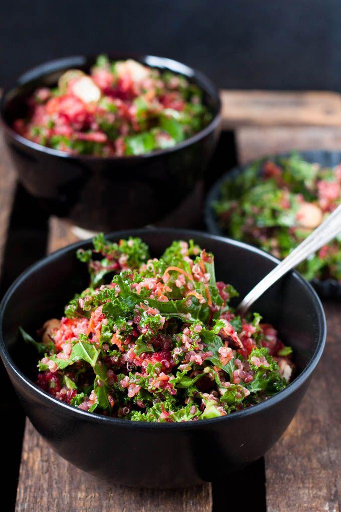Pink Power Salat. Lecker, super gesund und macht lange satt. Perfekt - kochkarussell.com