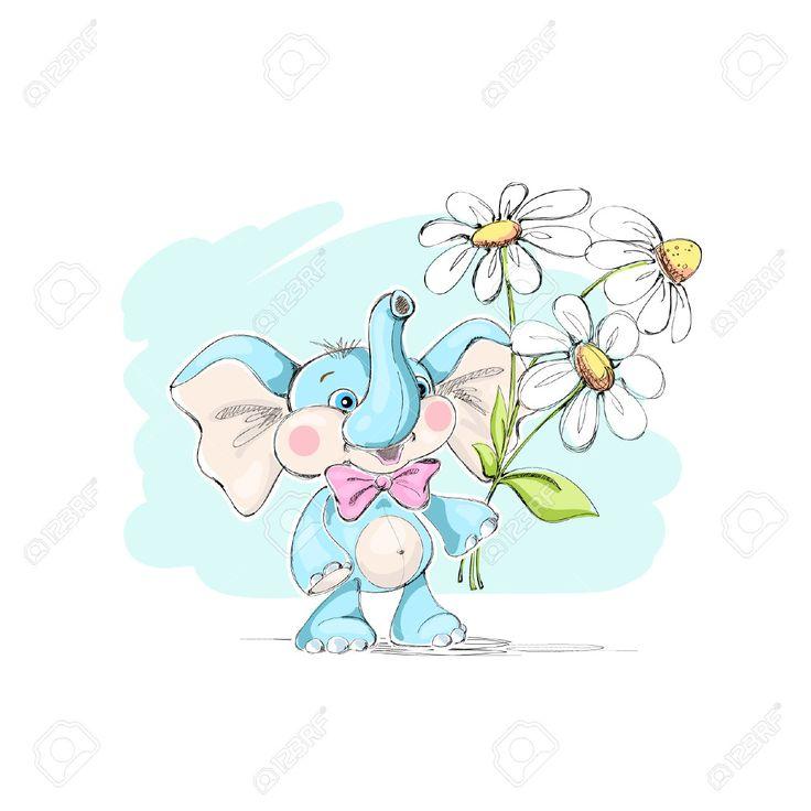 Милый, смешной маленький слон и букет из ромашек. Векторная иллюстрация. Клипарты, векторы, и Набор Иллюстраций Без Оплаты Отчислений. Image 63644216.
