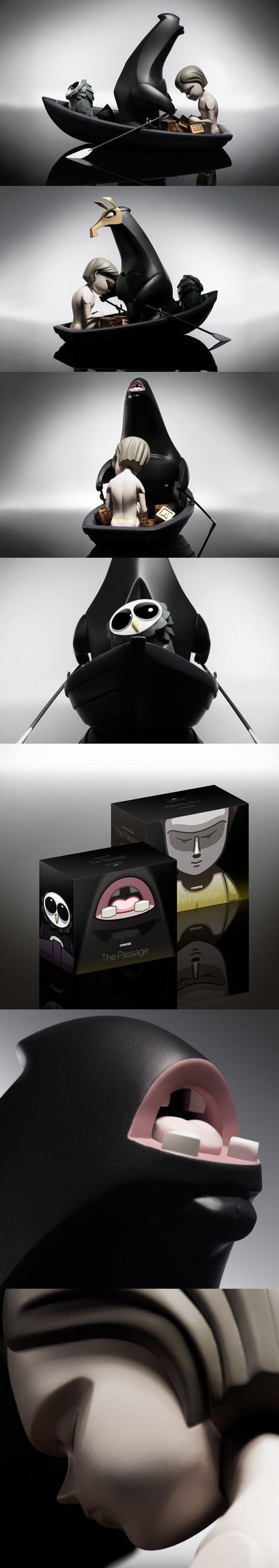 La compagnie allemande spécialisée dans les art toys Coarse a récemment dévoilé sa dernière création absolument incroyable appelée 'The passage'. Limité à 222 exemplaires, ce set de figurines intègre trois personnages ainsi qu'une barque, traversant les eaux en direction de l'île de Void dans la nuit. #toyart #wishlist
