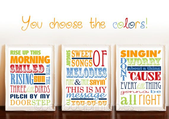 Three little prints.Birds Prints, 3 Little Birds, Three Little Birds Nursery, Bob Marley Nursery, Baby Bobs, Birds Typography, Bobs Marley Three Little Birds, Typography Art, Nurseries Ideas