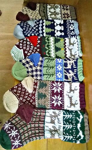 rustic fair isle christmas stockings pattern by lindsay goodall