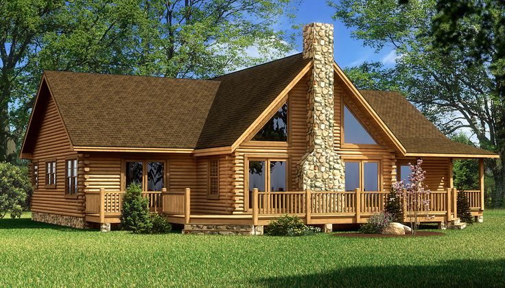 """""""The Red River"""" is one of the many log cabin home plans from Southland Log Homes. You can customize the Red River to meet your exact needs with our free design tools."""