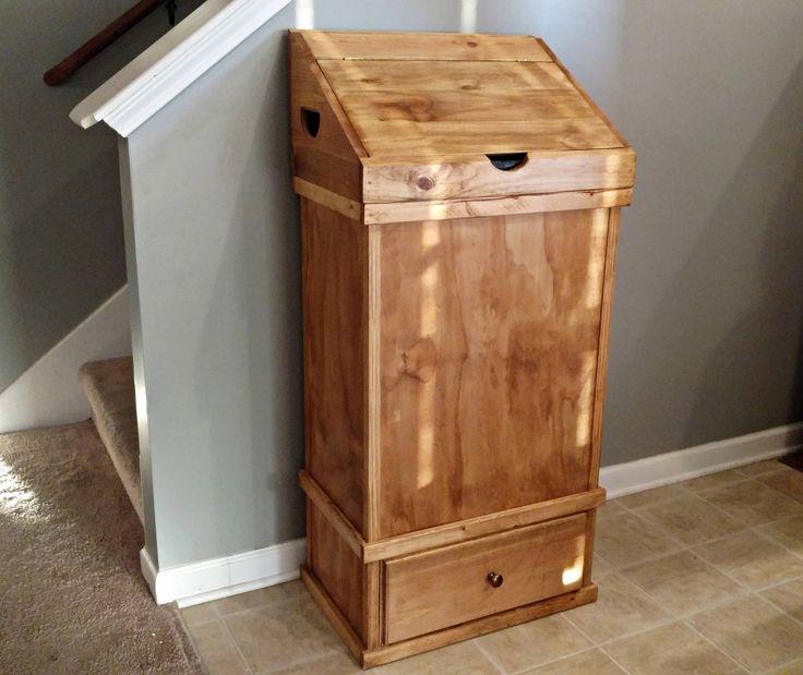 Charming Rustic Wood Trash Can Holder, 30 Gallon Trash Can Holder, Wood Trash Can  Cabinet