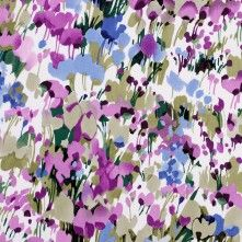 Pink/Green/Blue Painterly Floral Stretch Cotton Sateen