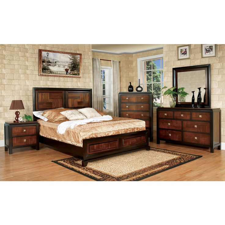 furniture bedroom set. Furniture of America Anteia Duo Tone 4 Piece Acacia and Walnut Bedroom Set  Best 25 bedroom ideas on Pinterest