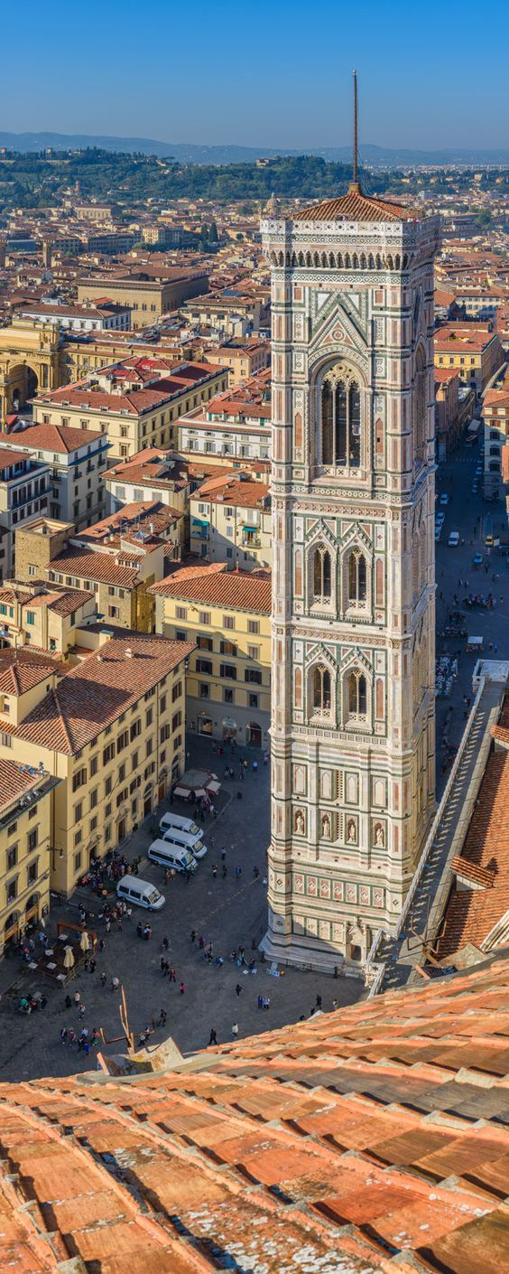 Giotto's Campanile, part of Florence Cathedral on the Piazza del Duomo in Florence, Italy.