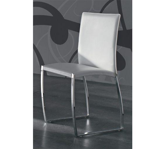 pack de dos sillas de comedor tapizadas en piel textil y estructura cromada