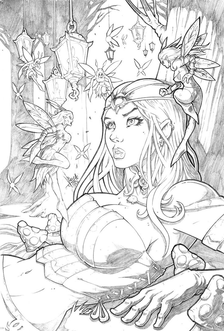 grimm fairy tales wonderland 35 pencil by vinz el tabanasdeviantart adult coloring pagescoloring booksgrimm