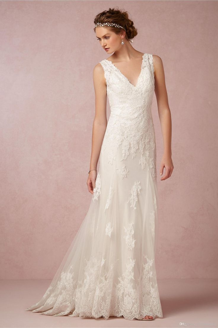 Bhldn 2015 Beach Lace Wedding Dresses Sheath Appliqued Tulle Sheer Bridal Gowns with V Neck And Covered Buttons Sweep Train from Chris85920,$130.9 | DHgate.com