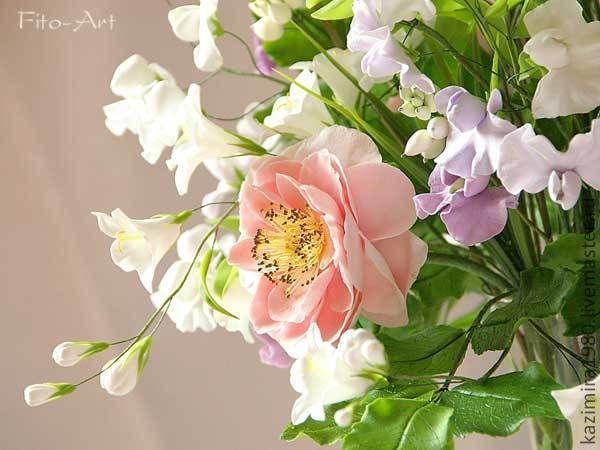 Купить Букет из полимерной глины. Аромат садовых роз. - бледно-розовый, розовый, нежность, букет
