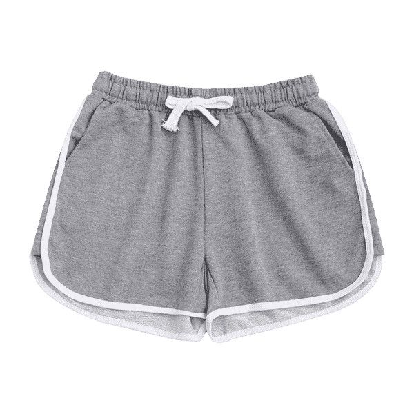 Contrast Trim Running Shorts Light Gray S ($18) ❤ liked on Polyvore featuring activewear and activewear shorts