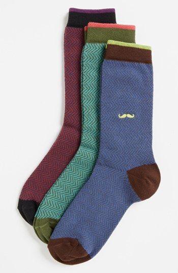 Nordstrom Herringbone Crew Socks (3-Pack) (Toddler Boys, Little Boys & Big Boys) Blue Multi 9-2.5