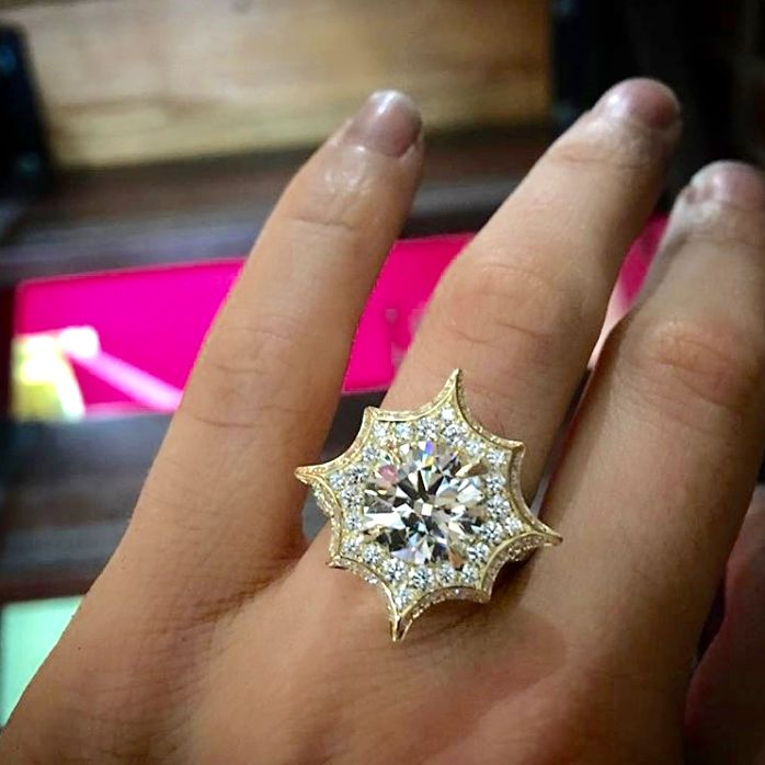 Favorite Jewelry Instagram Accounts For Inspiration - yellow gold diamond star engagement ring, ring selfie