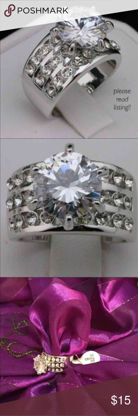Large CZ Solitaire Fashion Ring Size 7 fashion jewelry 3 carat Solitaire white gold plated ring. Never worn. Jewelry Rings