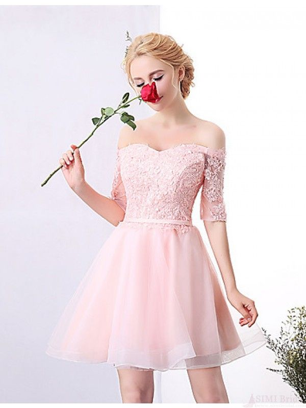 off shoulder pink cute #homecomingdress #SIMIBridal