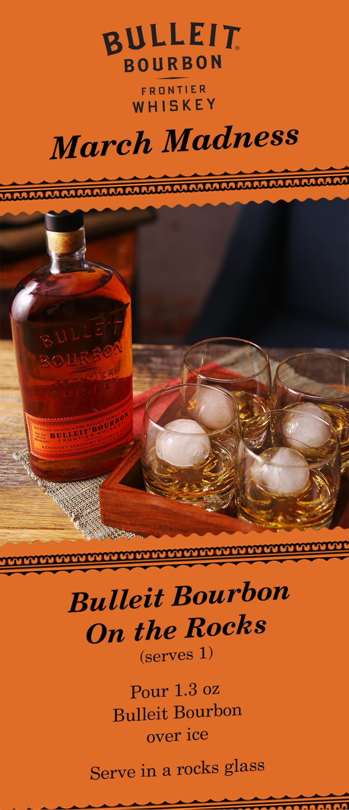 Ring in the Final Four weekend with a group serve of Bulleit Bourbon on the rocks.  This classic whiskey is the perfect drinks for friends to enjoy while watching basketball.  All it takes is a bottle of Bulleit Bourbon and some ice, so you can spend more time  watching the game. No matter which team you're rooting for, watch the drama unfold  in Phoenix with a little taste of Kentucky.