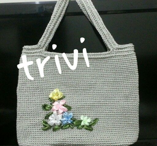 Crochet Bag with Ribbon Embroidery