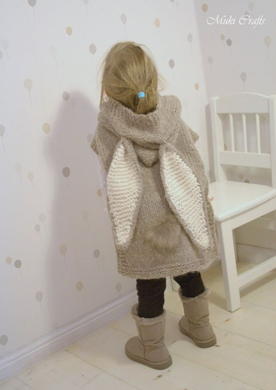 KNITTING PATTERN bunny poncho with hood and tail by MukiCrafts
