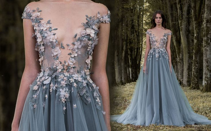 """Off shoulder dusky blue wedding dress with floral applique bodice, plunging neckline and tulle skirt by Paolo Sebastian // Beautiful couture wedding gown inspiration from Paolo Sebastian's 2016/2017 Autumn Winter """"Gilded Wings"""" collection {Facebook and Instagram: The Wedding Scoop}"""