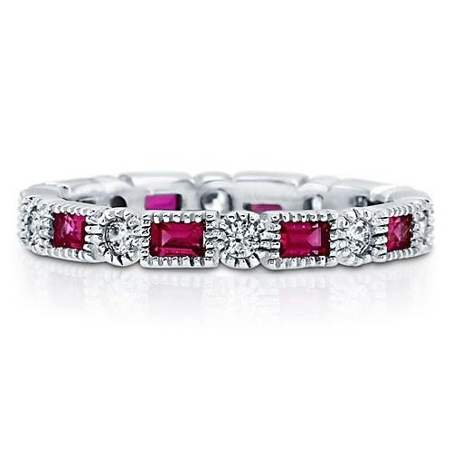 Обручальное кольцо вечности с цирконами-рубинами огранки изумруд CZ по кругу из стерлингового серебра UAH 587.83