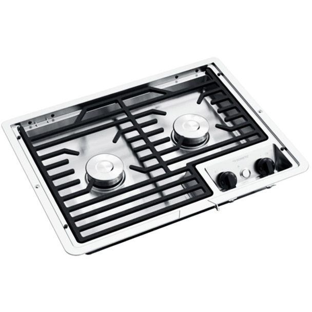 Dometic D21 Sec 50216 Rv 2 Burner Propane Cooktop Stainless Steel Cast Iron Grate Stainless Steel Cooktop Stainless Steel Casting Iron Grate