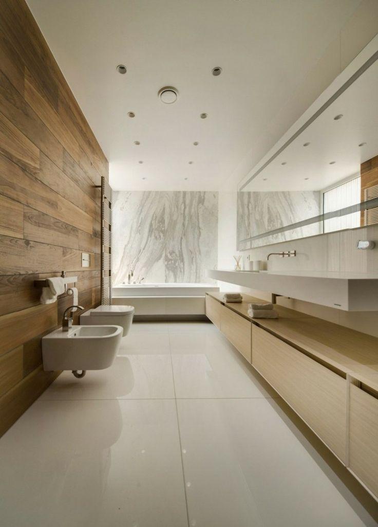 baño moderno al estilo minimalista con mármol y madera