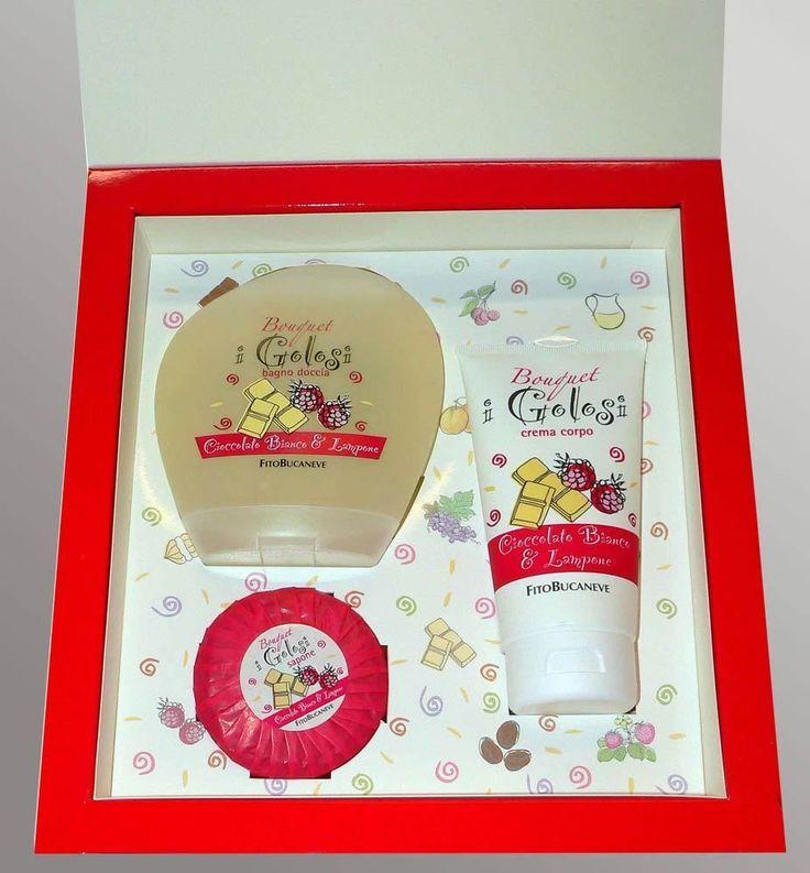 Bouquet I Golosi: sapone, bagno doccia e crema corpo cioccolato bianco e lampone