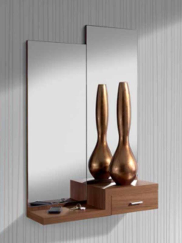 Recibidor compacto nogal decoracion para salas for Muebles para hall de entrada