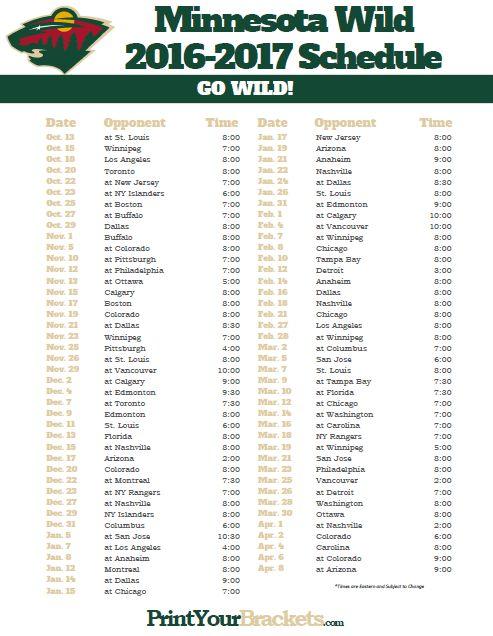 Minnesota Wild Hockey Schedule 2016-17.