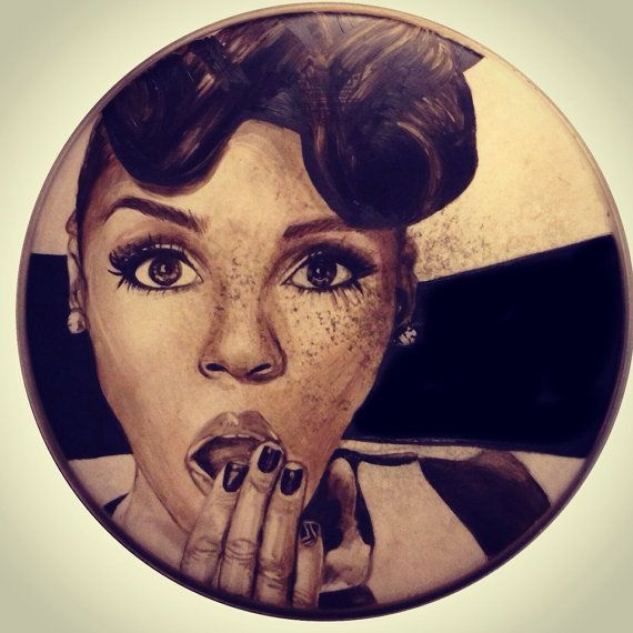Janelle Monáe Portrait on Used Drum Head  by NicoleDiNardoArt, $150.00