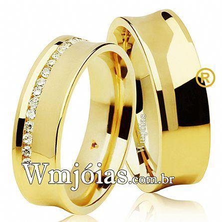 Aliança de casamento com rubi e diamante